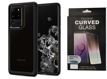 Etui pancerne SPIGEN ULTRA HYBRID Samsung Galaxy S20 ULTRA MATTE BLACK +szkło UV