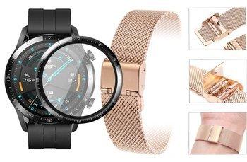 Opaska pasek bransoleta Milanese band z zapięciem Huawei Watch GT 2 46MM rose gold +szkło 3D