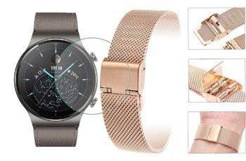 Opaska pasek bransoleta Milanese band z zapięciem Huawei Watch GT 2 PRO 46mm rose gold +szkło hartowane na ekran