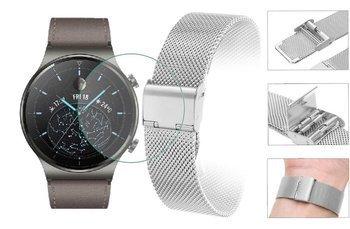 Opaska pasek bransoleta Milanese band z zapięciem Huawei Watch GT 2 PRO 46mm srebrna +szkło hartowane na ekran