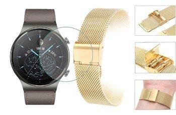 Opaska pasek bransoleta Milanese band z zapięciem Huawei Watch GT 2 PRO 46mm złota +szkło hartowane na ekran