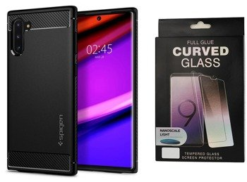 SPIGEN RUGGED ARMOR GALAXY NOTE 10 MATTE BLACK +szkło 5D UV