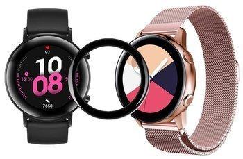 TECH-PROTECT MILANESE opaska pasek bransoleta BAND Huawei Watch GT 2 42mm Różowa + szkło 5D