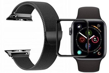 opaska pasek bransoleta MILANESEBAND Apple Watch 4/5 44MM BLACK +szkło 5D