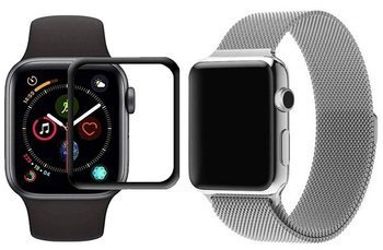 opaska pasek bransoleta MILANESEBAND Apple Watch 4/5/6/SE 44mm srebrna +szkło 5D