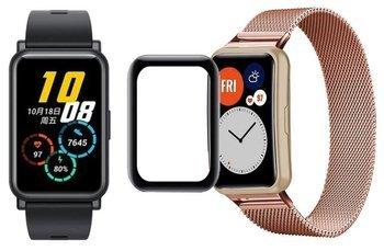 opaska pasek bransoleta MILANESEBAND Huawei Watch FIT różowa +szkło 5D