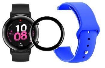 opaska pasek bransoleta SMOOTHBAND Huawei Watch GT 2 42MM niebieska + szkło 5D