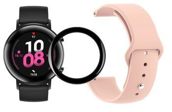 opaska pasek bransoleta SMOOTHBAND Huawei Watch GT 2 42MM pudrowa + szkło 5D