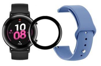 opaska pasek bransoleta SMOOTHBAND Huawei Watch GT 2 42MM szaroniebieska + szkło 5D