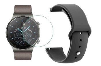opaska pasek bransoleta SMOOTHBAND Huawei Watch GT 2 PRO 46mm czarna +szkło hartowane na ekran