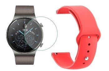 opaska pasek bransoleta SMOOTHBAND Huawei Watch GT 2 PRO 46mm czerwona +szkło hartowane na ekran