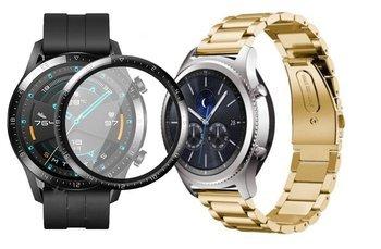 opaska pasek bransoleta STAINLESS Huawei Watch GT 2 46MM GOLD +szkło 3D