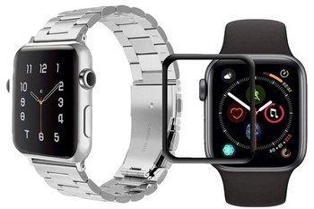 opaska pasek bransoleta STAINLESS STEEL Apple Watch 4/5 40mm SILVER +szkło 5D