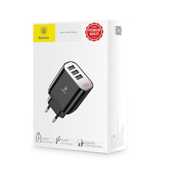 Baseus Mirror Lake inteligentna ładowarka sieciowa adapter EU z wyświetlaczem napięcia ładowania 3x USB 3.4A czarny (CCALL BH01)