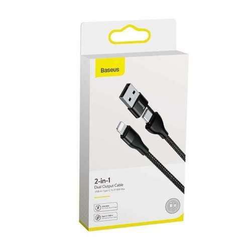 Baseus 2w1 nylonowy kabel przewód USB / USB Typ C PD 18W - Lightning 2A 1m czarny (CATLYW-G01)