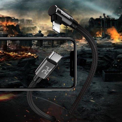 Baseus MVP Elbow kątowy kabel przewód z bocznym wtykiem USB Typ C Power Delivery / Lightning 2m 18W 3.5A czerwony (CATLMVP-A09)