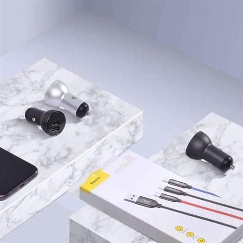 Baseus ładowarka samochodowa 2x USB 4,8A 24W z LCD + kabel 3w1 USB - USB Typ C / micro USB / Lightning 1,2m czarny (TZCCBX-0G)