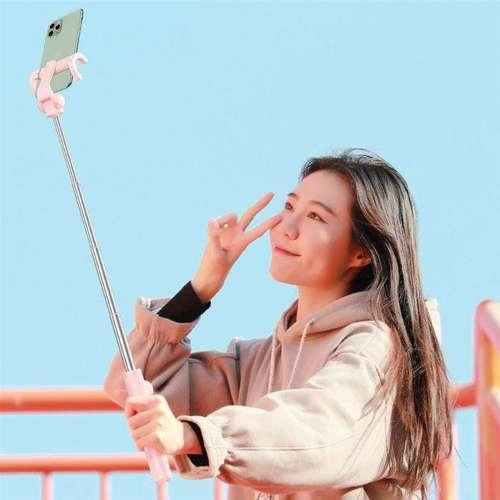 Baseus selfie stick teleskopowy rozsuwany kijek do selfie statyw z pilotem Bluetooth różowy (SUDYZP-E04)