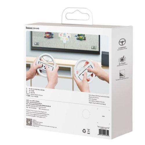 Baseus zestaw 2x kierownica do Nintendo Switch nakładka na Joy-Con joystick pad szary (GMSWB-0G)