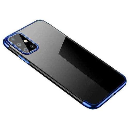 Clear Color case żelowy pokrowiec etui z metaliczną ramką Huawei P40 niebieski