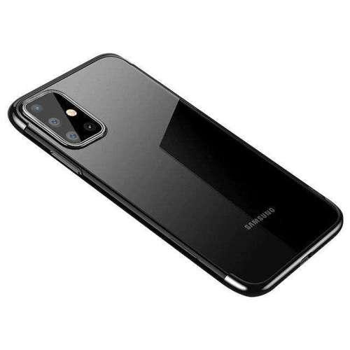 Clear Color case żelowy pokrowiec etui z metaliczną ramką Samsung Galaxy A41 czarny