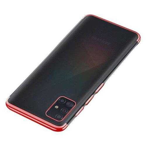 Clear Color case żelowy pokrowiec etui z metaliczną ramką Samsung Galaxy A51 czerwony