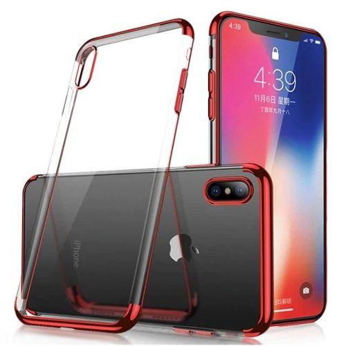 Clear Color case żelowy pokrowiec etui z metaliczną ramką Samsung Galaxy A70 czerwony