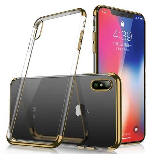 Clear Color case żelowy pokrowiec etui z metaliczną ramką Samsung Galaxy A70 złoty