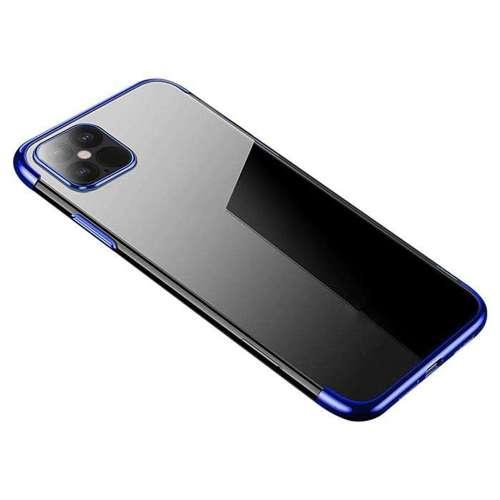 Clear Color case żelowy pokrowiec etui z metaliczną ramką iPhone 12 Pro / iPhone 12 niebieski