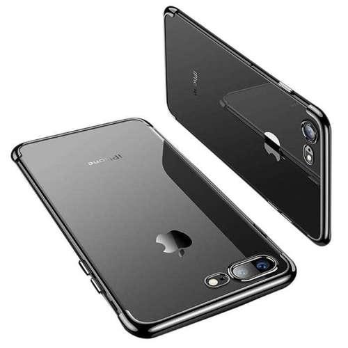 Clear Color case żelowy pokrowiec etui z metaliczną ramką iPhone 8 Plus / iPhone 7 Plus czarny