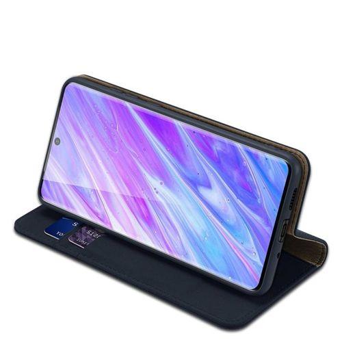 DUX DUCIS Wish skórzane etui pokrowiec ze skóry naturalnej Samsung Galaxy S20 Plus niebieski