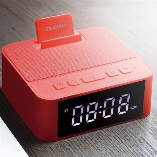 Dudao bezprzewodowy głośnik z AUX zegarek, radio FM i budzik + czytnik kart micro SD czerwony (Y5 red)