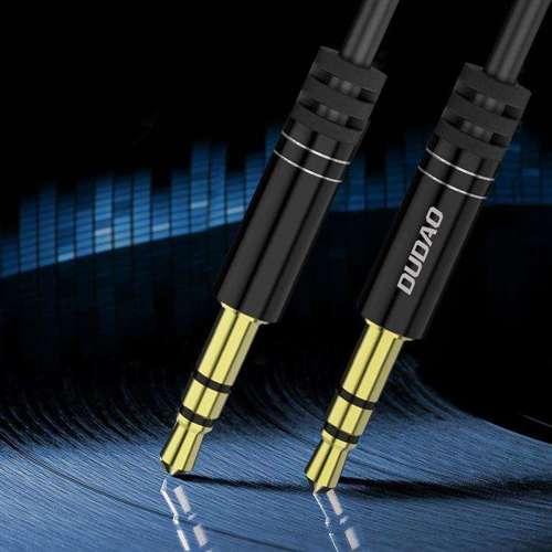 Dudao długi rozciągliwy kabel AUX mini jack 3.5mm sprężyna ~150cm czarny (L12 black)