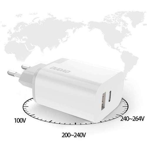 Dudao ładowarka sieciowa USB / USB Typ C Power Delivery Quick Charge 3.0 3A 22,5W biały (A6xsEU white)