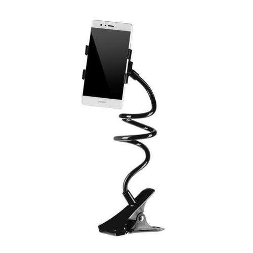 Elastyczny długi uchwyt z klipsem do telefonu czarny
