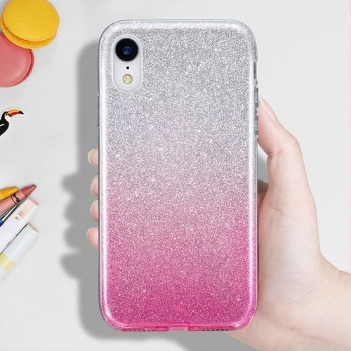 Etui Brokat Glitter HUAWEI Y5 2019 srebrno-różowe