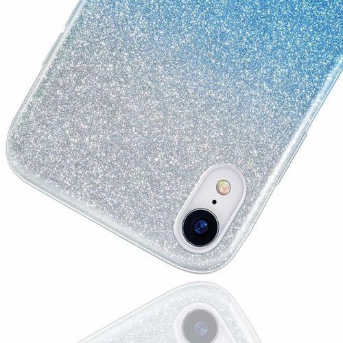 Etui Brokat Glitter XIAOMI MI A3 LITE srebrno-niebieskie
