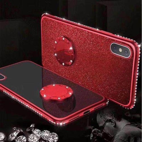 Etui Diamond Ring Glitter Brokat HUAWEI P20 LITE czerwone