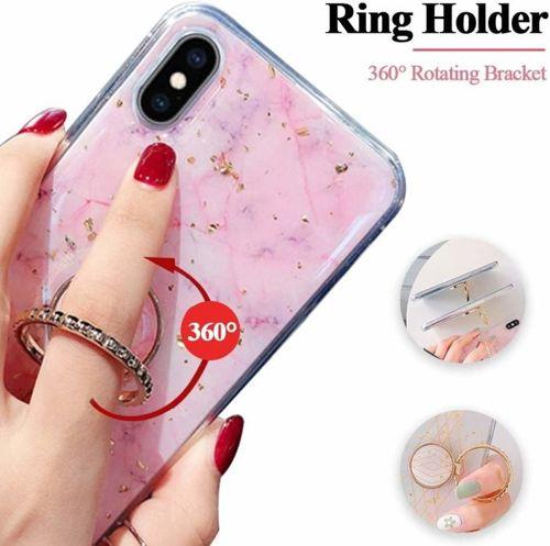 Etui HUAWEI P SMART 2019 Marble Ring fioletowo-niebieskie