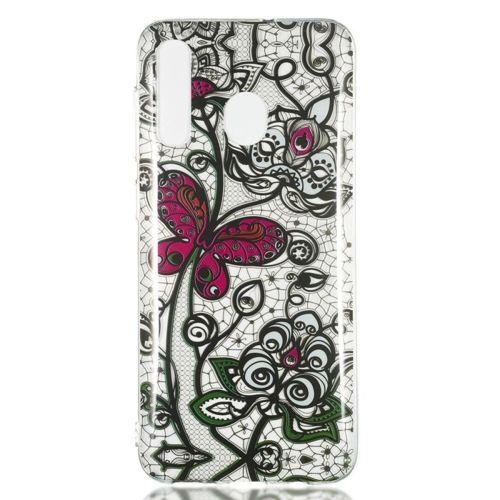 Etui Slim case Art SAMSUNG GALAXY A50 czarna koronka i motyl