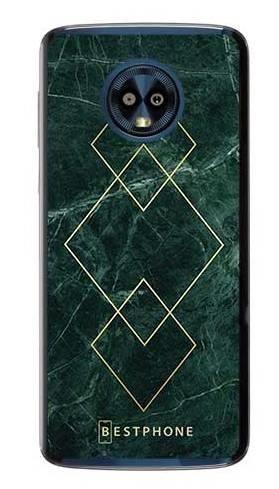 Etui art deco marmur zielony na Motorola Moto G6