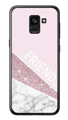Etui dla przyjaciół friends glitter różowy na Samsung Galaxy A7 2018