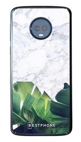 Etui marmurowe liście na Motorola Moto G6 Plus