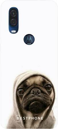 Etui mops na białym tle na Motorola MOTO ONE VISION