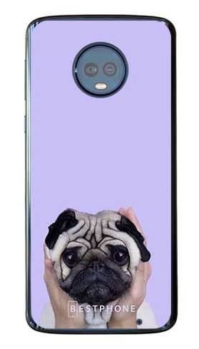 Etui mops na fioletowym tle na Motorola Moto G6 Plus