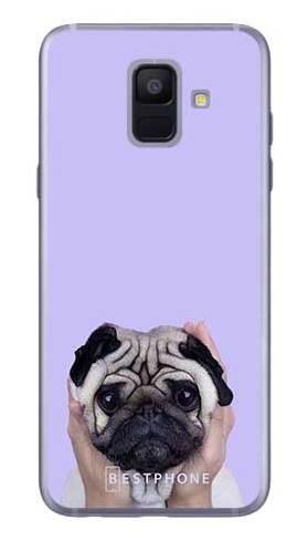 Etui mops na fioletowym tle na Samsung Galaxy A6