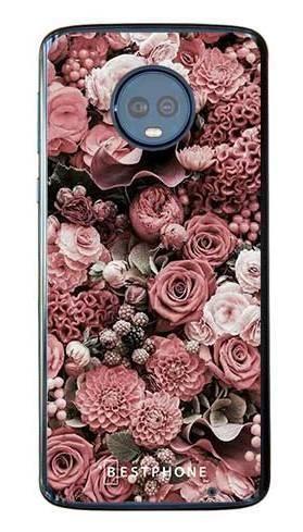 Etui różowa kompozycja kwiatowa na Motorola Moto G6 Plus