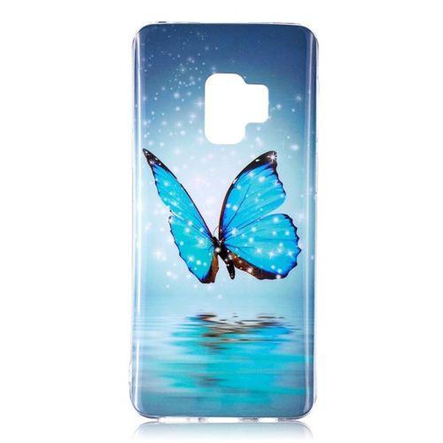 Etui slim case art SAMSUNG S9 SHINY BLUE BUTTERFLY