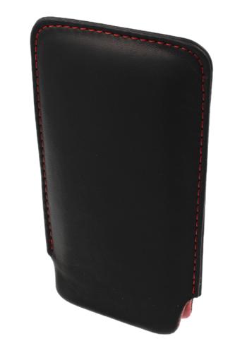 Etui wsuwka skórzana SONY ERICSSON X10 MINI czarne (czerwony środek)