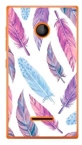 Foto Case Microsoft Lumia 435 fioletowe piórka